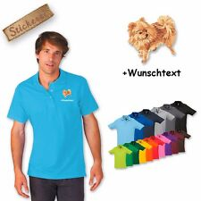 Polo Shirt Cotton Embroidered Dog Pomeranian white + Text of your choice