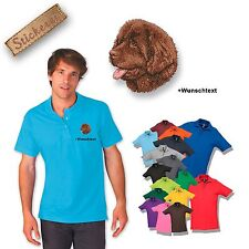 Polo Shirt Cotton Embroidered Dog Newfoundland + Text of your choice