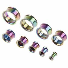 Stainless Steel Punk Flared Ear Plugs Hollow Expander Stretcher Tunnels Piercing