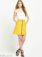 River Island Zip Through A Line Skirt in Yellow Size 6 to 16