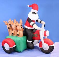 Clearance 150cm Inflatable Santa & Reindeers on Motorbike Light Up Outdoor