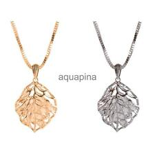 Exquisite Hollow Out Leaf Pendant Necklace with Rhinestone Inside Sweater Chain