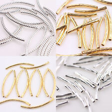 Lots Curved Tube Silver Gold Elbow Noodle Spacer Loose Bead Craft Connectors