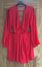 Miss Selfridge New Red Plunge Cut Out Long Sleeves Playsuit Size 4 - 12 Bnwot