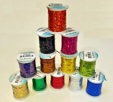 Veniard Holographic Tinsel Spool Fly Tying Material 4 COLOURS Small/Medium/Large