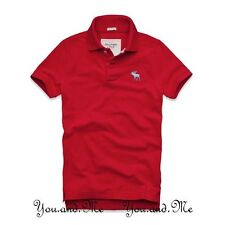 NEW ABERCROMBIE & FITCH for MEN * A&F Baker Mountain Cotton Polo Shirt Red S - L