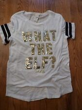 "VICTORIAS SECRET PINK BLING SEQUIN ""WHAT THE ELF ?"" SCOOPNECK TEESHIRT NWT"
