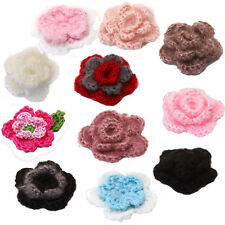 10pcs 3-layer Handmade Crochet Flower Appliques Sewing Clothes Hat DIY Craft