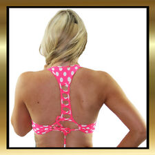 Pink and White Polka Dot Stretch Lycra Criss Cross Tie Back Crop Top