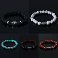 Fashion Mens Lava Stone Buddha Beaded Rock Elastic 8MM Beads Bracelet Bangle