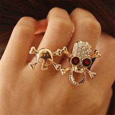 Practical Typical Gothic/Punk Gold/Silver Crystal Skull Two Finger Double Ring