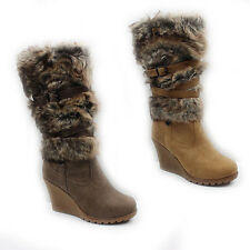 NEW WOMENS LADIES FUR LINED  WEDGE HEEL MID CALF BOOTS SHOES SIZE 3-8