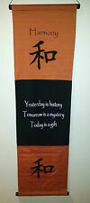 Bali Inspirational  Affirmation Banner/ Wall Hanging Harmony Brown or Orange