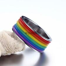 Stainless Steel Rainbow Lesbian Gay Pride Striped Promise Band Ring Jewelry Gift