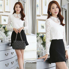 Fashion Women Embroidery Floral Long Sleeve Lace Slim Tops White OL Shirt Blouse