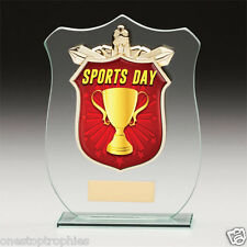 Glass Plaque Sports Day Trophy In 3 Sizes With Free Engraving up to 30 Letters