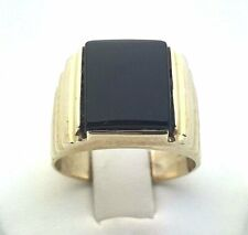 14K Yellow Gold Men's Square Black Onyx Ring Available in Sizes 7-13 Jewelry