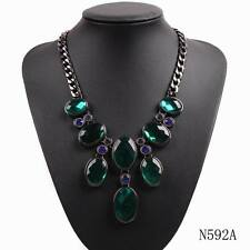 2016 new design fashion black chain bib chunky statement choker crystal necklace