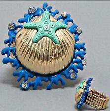 SEA LIFE COASTAL OCEAN STARFISH CORAL SHELL OCEAN BLUE OR RED STRETCH RING