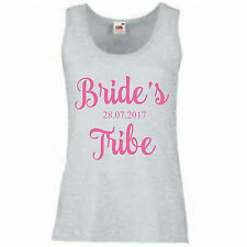 LILY Personalised Custom Hen Party Bridal Wedding Ladies T-Shirt Vest Tank Top