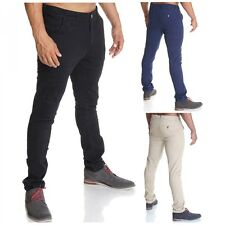Men's Chino Pants Authentic Destroyed Straight Cut Skinny Jeans Trousers Sale