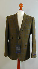 AUSTIN REED Mens Green Blue Overcheck Wool Suit Jacket