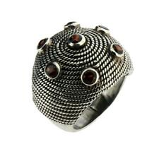 Large Sterling Silver Faceted Garnet Ring Size 8 Jewelry Gemstone 7 Stones