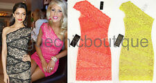 NWT BEBE Mixed Lace Banded One Shoulder Dress Coral Orange Pink Yellow XS 0 2