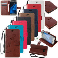 New Luxury Butterfly Wallet Leather Case Flip Cover + Hand Strap Card Slots 0Dc