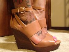 NWT-GIANNI BINI BROWN LEATHER ANKLE STRAP WEDGES Sz 9.5