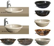Marble Stone Sink Bathroom Basin Inset Drop-in Self Rimming Wash Bowl Bath Round