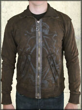 Monarchy Crown Skull Medieval Filigree Foil Mens Zip Up Track Jacket Brown NEW S