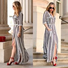 Fashion Women Casual Long Sleeve Tunic Shirt Black White Striped Long Maxi Dress