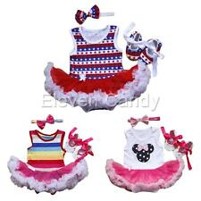 3pcs Newborn Infant Baby Girls Headband +Romper Dress +Shoes Outfit Set Clothing