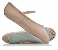 Leather Ballet Shoes,Pink,Elastics On,(Easy Fit as outdoor shoe Size),All Sizes