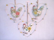 GISELA GRAHAM EASTER COUNTRY STYLE TIN HEN IN HEART DECORATION