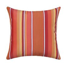 Sunbrella Dolce Stripe Mango Outdoor Pillow, Orange Yellow White Coral Pillow