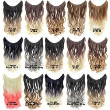 22'' Color Gradient Long Wavy Curly Invisible Wire Hair Extensions Ombre Hair