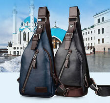 Men PU Leather Sling Chest Bag Travel Hiking Cross Body Messenger Shoulder Pack