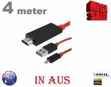 4Meter Micro Usb to HDMI MHL Cable HDTV Adapter Screen Mirroring 4 Samsung Tab