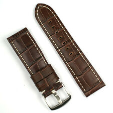 22mm Watch Band Strap in Brown Leather 'Gator with White Stitch
