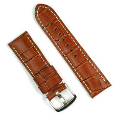 22mm Watch Band Strap in Honey Brown Leather 'Gator with White Stitch