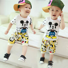 2PCS Baby Kids Girls Boys Mickey Mouse Tops T-shirt +Pants Outfits Set Clothes