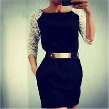 Hot Spring Summer Women Dress Office Wear Slim Lace Black Casual Dress Vestidos
