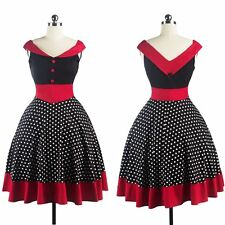 Vintage Rockabilly Polka Dot Retro Swing 50s 60s Pinup Housewife Prom Dress