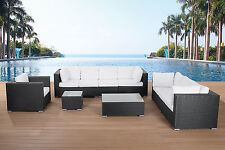OUTDOOR CONVERSATION SET GARDEN PATIO LOUNGE FURNITURE BLACK WICKER SECTIONAL