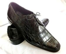 PREMIUM CROCODILE BELLY DRESS LACE UP OXFORDS MENS SHOES BROWN