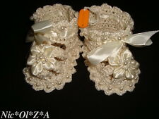 BABY GIRL SHOES BOOTIES SANDALS WITH PEARLS & SATIN RIBBONS HANDMADE CROCHET