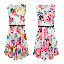 GIRLS FLORAL PRINT SKATER DRESS KIDS PARTY SUMMER BELTED DRESSES AGE 7-13 YEARS