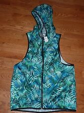 "VICTORIAS SECRET PINK FULL TROPICAL ZIP""PINK"" ANORAK SLEEVELESS WINDBREAKER NWT"